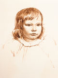 Portrait of little girl. watercolor Royalty Free Stock Photo