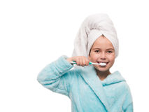 portrait of little girl wearing bathrobe with towel on head brus Stock Photography
