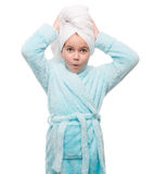 portrait of little girl wearing bathrobe with towel on head Stock Photography