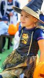 Little witch girl on Halloween royalty free stock images
