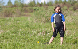 Portrait of little girl in wetsuit Royalty Free Stock Photography