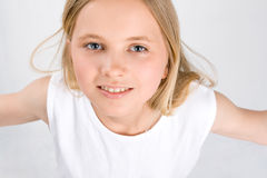 Portrait of Little Girl on white Stock Image