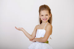 Portrait of a little girl in white classic dress Stock Photography