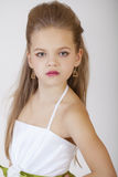 Portrait of a little girl in white classic dress Royalty Free Stock Photo