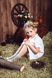 Portrait of little girl in white dress with braids Royalty Free Stock Photos