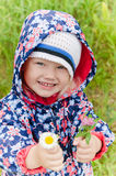 Portrait of a little girl with wild flowers Royalty Free Stock Photos