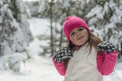 Portrait of a little girl  in winter Stock Photos
