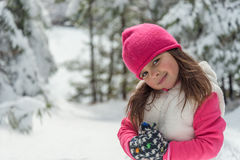 Portrait of a little girl  in winter Stock Photo