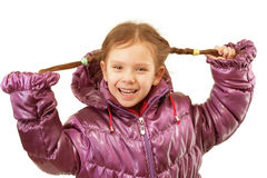Portrait of little girl in winter jacket Stock Photos
