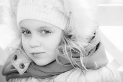 Portrait of a little girl in winter outwear Royalty Free Stock Images
