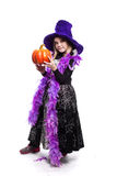 Portrait of little girl in witch costume with pumpkin. Halloween character Stock Photos
