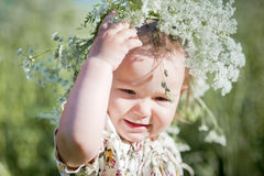 Portrait of little girl with wreath Royalty Free Stock Images