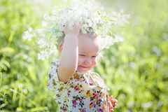 Portrait of little girl with wreath Stock Photos