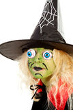 Portrait of little green Halloween witch Stock Photography