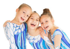 Portrait of little happy beautiful gymnasts Stock Images
