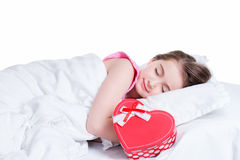 Portrait of little happy girl sleeping. Royalty Free Stock Photos
