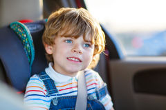 Portrait of little kid boy sitting in safety car seat Stock Images
