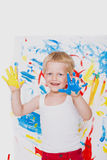 Portrait of a little messy kid painter. School. Preschool. Education. Creativity Stock Image