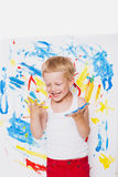 Portrait of a little messy kid painter. School. Preschool. Education. Creativity Stock Images