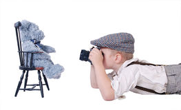 Portrait of little photographer Royalty Free Stock Image