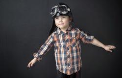 Portrait of a little pilot stock photography