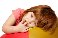 Portrait of little red-haired girl Stock Photography
