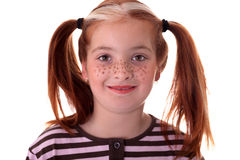 Portrait of little red-haired girl with freckles Stock Photos