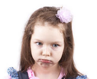Portrait of little sad  girl isolated close up Royalty Free Stock Image