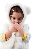 Portrait Of Little Sad Girl In White Fur. Studio Shoot Over White Background Stock Images