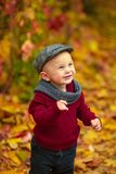 Portrait of little smiling child boy standing in park on backgro Royalty Free Stock Photos