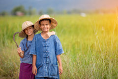 Portrait of little smiling young  farmer Royalty Free Stock Images