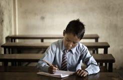 Little student in Kathmandu stock images