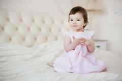 Portrait of a little sweet girl at home Royalty Free Stock Images