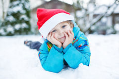 Portrait of little toddler boy three years old in winter Royalty Free Stock Image