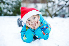 Portrait of little toddler boy three years old in winter Stock Images