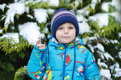 Portrait of little toddler boy three years old in winter Stock Photos