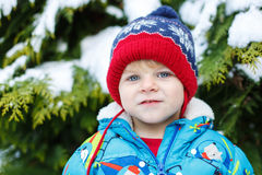 Portrait of little toddler boy two years old in winter Stock Photography
