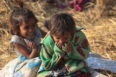 Portrait of little vagabond kids. Homeless kids. Royalty Free Stock Image
