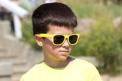 Portrait of little young boy kid at sea. Summer. Royalty Free Stock Photos