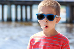 Portrait of little young boy kid at sea. Summer. Stock Photography