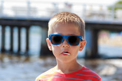Portrait of little young boy kid at sea. Summer. Royalty Free Stock Image