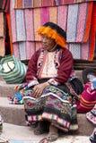 Portrait of local market seller in Urubamba, Peru stock photo