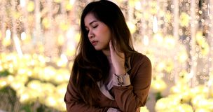 Lonely asian woman, outdoor in night Royalty Free Stock Image