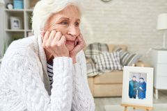 Lonely Senior Woman Crying royalty free stock photo