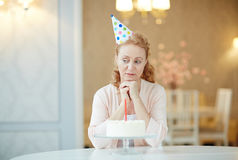 Portrait of Lonely Woman on Birthday n royalty free stock images