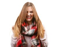 Woman wearing scarf isolated royalty free stock photo