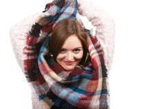 Woman wearing scarf isolated stock image