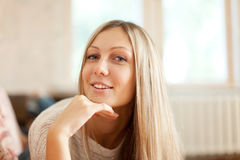 Portrait of long-haired blonde girl Stock Photo