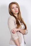 Portrait long-haired blonde woman Royalty Free Stock Images