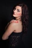 Portrait of long-haired brunette Stock Photo